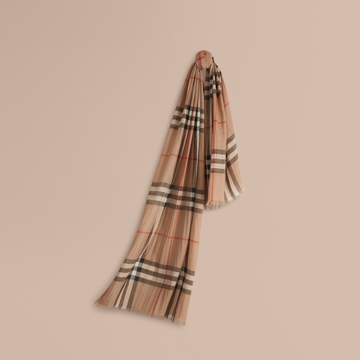 burberry scarf outlet sols  Burberry Lightweight Check Wool and Silk Scarf