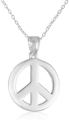 Sterling Peace-Sign Pendant Necklace