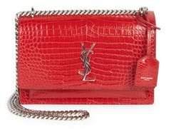 Saint Laurent Medium Sunset Monogram Croc-Embossed Leather Chain Shoulder Bag