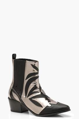 boohoo Contrast Metallic Detail Western Cowboy Boots