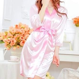 LESHP New Women Sexy Satin Lace Robe Sleepwear Lingerie Nightdress Pajamas