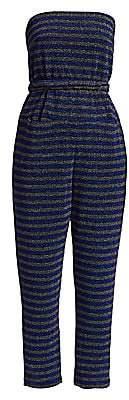 Rachel Comey Women's Wayne Glitter Stripe Strapless Jumpsuit