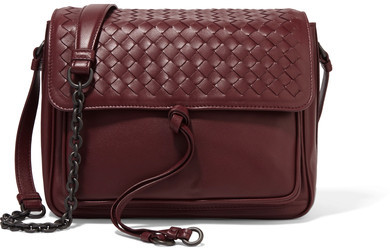 Bottega Veneta - Saddle Small Intrecciato Leather Shoulder Bag - Burgundy