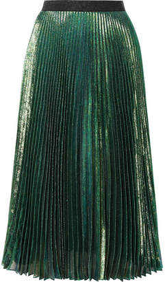 Christopher Kane Pleated Silk-blend Lamé Midi Skirt - Forest green