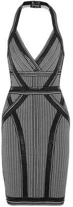 Herve Leger Lavinia Faux Leather-Trimmed Bandage Halterneck Dress