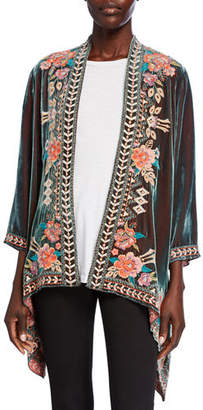 Johnny Was Plus Size Meave Floral Embroidered Velvet Drape Jacket