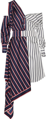 Monse - Off-the-shoulder Asymmetric Striped Silk-twill Dress - Navy $2,290 thestylecure.com