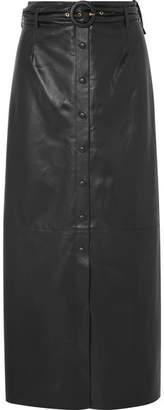 Nanushka - Ayona Belted Faux Leather Maxi Skirt - Black