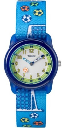 Timex Boys Time Machines Blue Soccer Watch, Elastic Fabric Strap