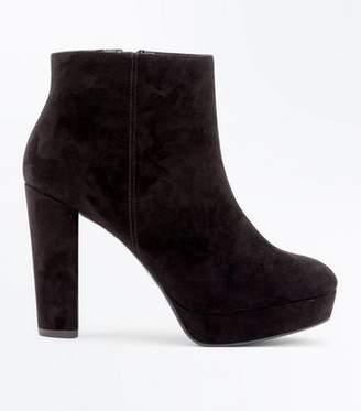 New Look Wide Fit Black Suedette Platform Heeled Boots