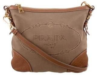 f6e537a5101d Prada Leather-Trim Canapa Crossbody Bag