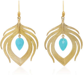 18K Gold Turquoise Earrings