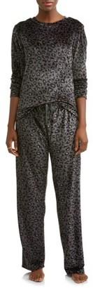 Gloria Vanderbilt Women's and Women's Plus Stretch Velour 2-Piece Sleep Set