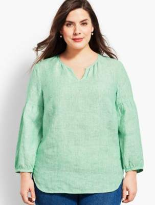 Talbots Linen Lantern-Sleeve Popover Shirt - Stripe