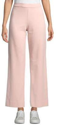 Joan Vass Plus Size Ankle-Length Stretch Cotton Jog Pants