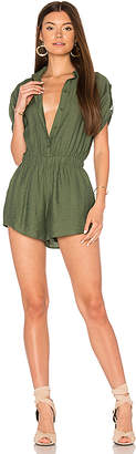 Line & Dot Leon Romper in Green $82 thestylecure.com