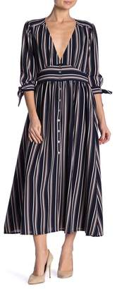 Paolino Striped V-Neck 3/4 Length Sleeve Dress