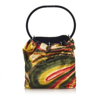 Gucci Vintage Graphic Print Velour Handbag