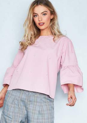43a92493853e42 Missy Empire Missyempire Amber Pink Pearl Embellished Bell Sleeve Smock Top