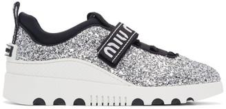 Miu Miu Silver and White Glitter Run Sneakers