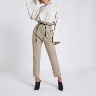 River Island Womens Beige paperbag waist tapered leg pants