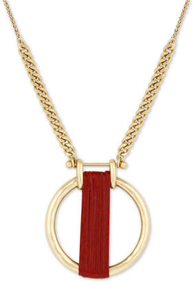 "Lucky Brand Gold-Tone Leather-Wrapped Circle 29"" Pendant Necklace"