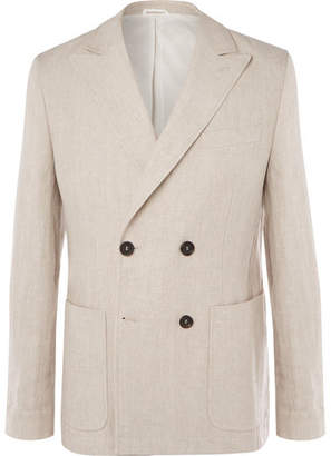 Oliver Spencer Double-breasted Linen Suit Jacket - Beige