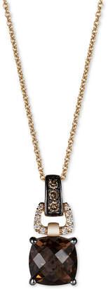 LeVian Le Vian Chocolatier Chocolate Quartz (1-3/4 ct. t.w.) and Diamond (1/10 ct. t.w.) Pendant Necklace in 14k Gold