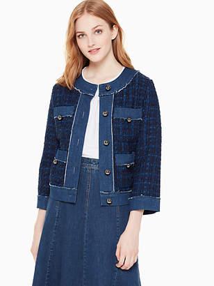 Kate Spade Denim Tweed Jacket, Indigo - Size L
