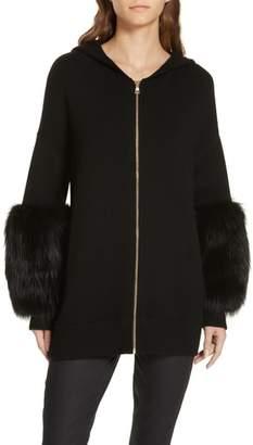 Alice + Olivia Joey Genuine Fox Fur Cuff Hoodie