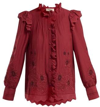 Sea Greta Floral Embroidered Cotton Blend Blouse - Womens - Red
