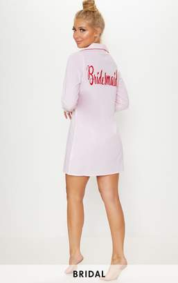 PrettyLittleThing Pale Pink Bridesmaid Embroidered Back Piping Detail Nightshirt
