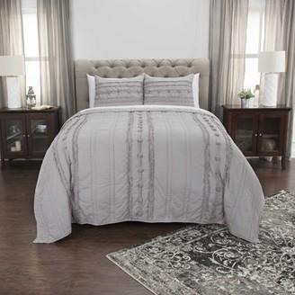 "Rizzy Home Cotton 20""x36"" Gray Stripe Bedding Sham"