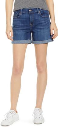 7 For All Mankind Roll Cuff Denim Shorts