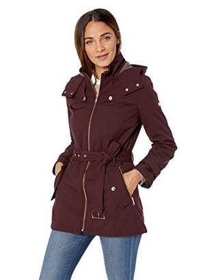 Tommy Hilfiger Women's Belted Soft Shell Rain Coat with Zip Front and Hood