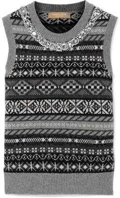 Michael Kors Crystal-embellished Fair Isle Cashmere Vest - Gray