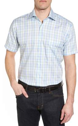 Peter Millar Crown Ease Sloan Regular Fit Plaid Sport Shirt