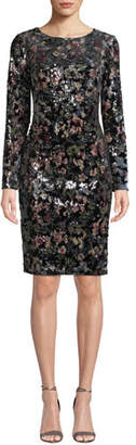 Badgley Mischka Floral-Sequin Long-Sleeve Velvet Dress