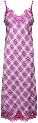 Alberta Ferretti Lace-trimmed Checked Cotton-blend Midi Dress