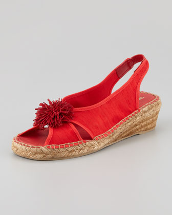 Andre Assous Dion Silk Espadrille Wedge, Red