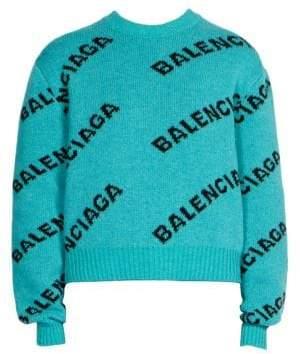 Balenciaga Cropped Wool Logo Sweater