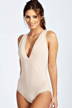 boohoo Sleeveless Deep Plunge Neck Bodysuit