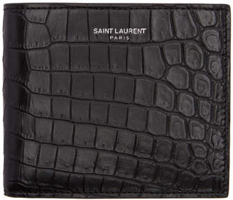 Saint Laurent Black Croc East/West Wallet