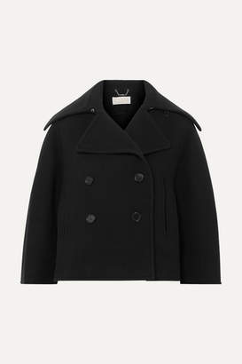 Chloé Cropped Double-breasted Wool-blend Felt Coat - Navy