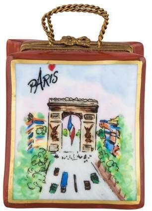 Limoges Porcelain Rochard Parisian Bag-Form Trinket Box