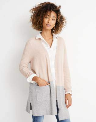 Madewell Kent Colorblock Cardigan Sweater in Coziest Yarn