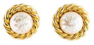 Celine Faux Pearl Clip-On Earrings