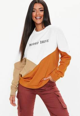 Missguided White Rodeo Drive Graphic Color Block Sweatshirt