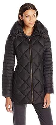 Lark & Ro Women's Three Quarter Length Quilted Coat