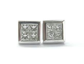 White Gold Princess Cut Diamond Invisible Setting Stud Earrings